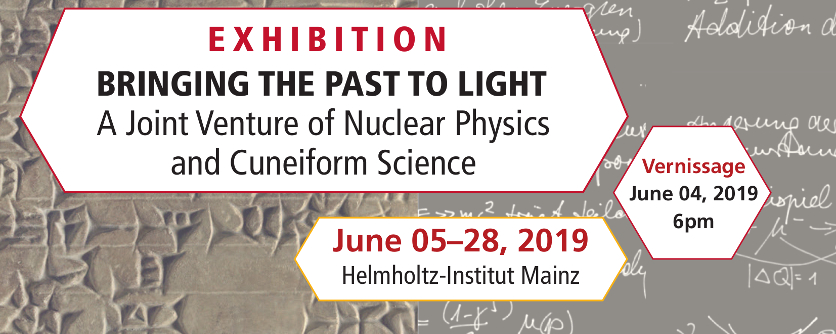 Interdisciplinary exhibition by GRC members Frank Maas (nuclear physics) and Doris Prechel (cuneiform science) at the Helmholtz-Institut Mainz